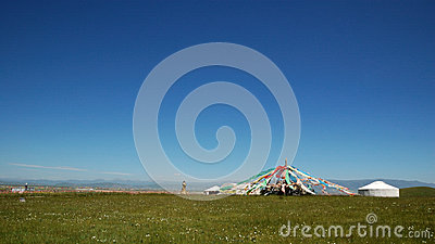 Prayer flags of Qinghai lake