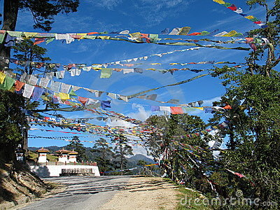 Prayer flags and stupa