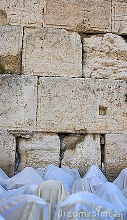The prayer near Western Wall in Jerusalem Editorial Photo