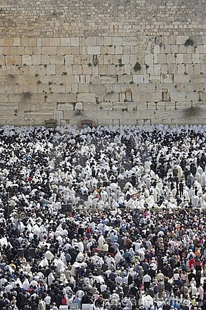 The prayer near Western Wall in Jerusalem Editorial Stock Photo