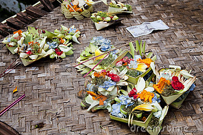 Prayer Offerings at Gua Gajah, Bali, Indonesia