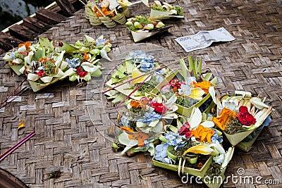 Prayer Offerings at Gua Gajah, Bali, Indonesia