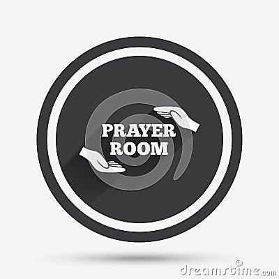 Prayer Room Sign Icon Religion Priest Symbol Cartoon Vector