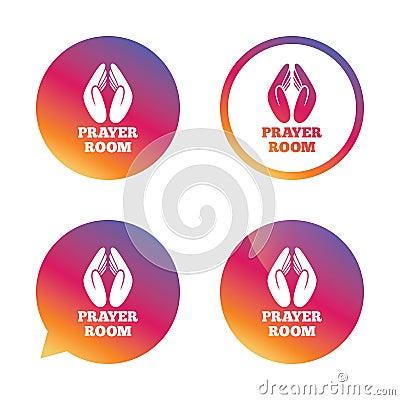 Prayer Room Sign Icon Religion Priest Symbol Vector Illustration