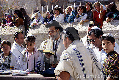 Prayer at the wailing wall Editorial Stock Image