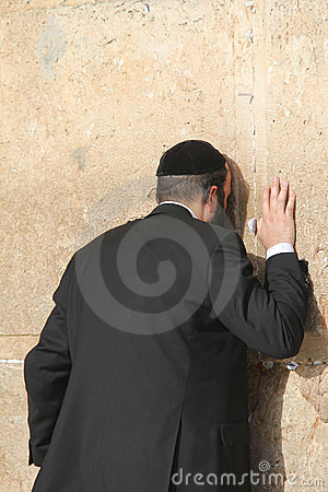 Prayer at the Wailing wall (Western wall) Editorial Stock Image