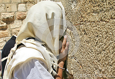 Prayer at Western Wall. Jerusalem, Israel.