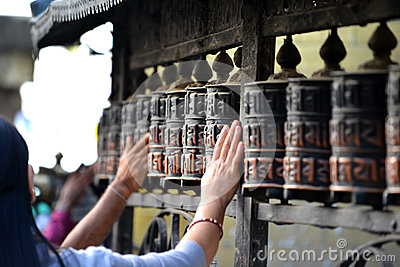 Prayer wheels in Boudhanath