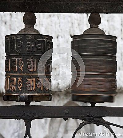 Prayer wheels with Chenrezig mantra, Nepal