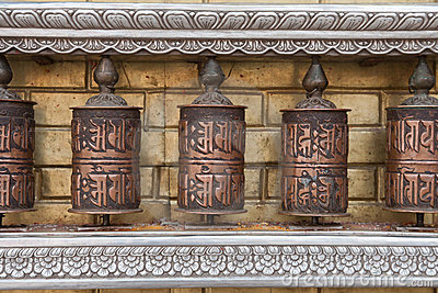 Prayer wheels with Chenrezig mantra, Nepal