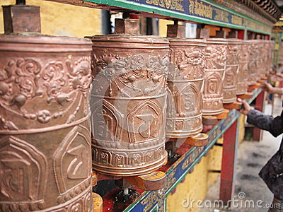 Prayer wheels in the Potala Palace