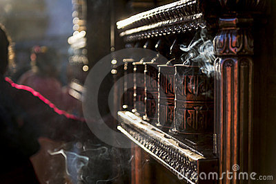 Prayer wheels at Swayambhunath Temple