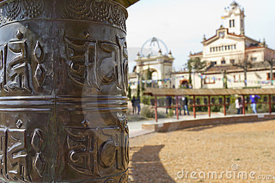 Prayer wheels and temple