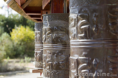 Prayer wheels in Tibet