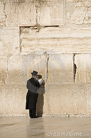 Prayers near Jerusalem wall Editorial Photography