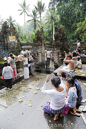 Prayers at Tirtha Empul, Bali, Indonesia Editorial Photo