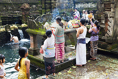 Prayers at Tirtha Empul, Bali, Indonesia Editorial Image