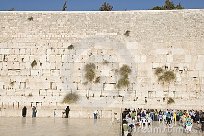 Prayers and tourists near Jerusalem wall Editorial Stock Photo