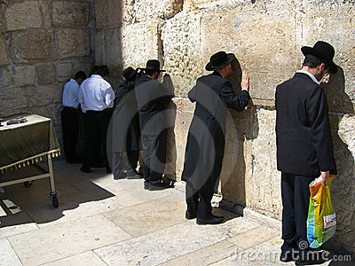 Prayers at the Wailing Wall Editorial Stock Photo