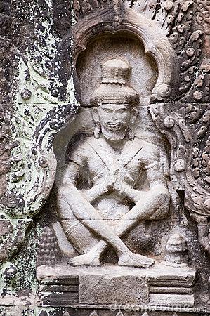 Praying Ascetic carving, Preah Khan temple, Angkor