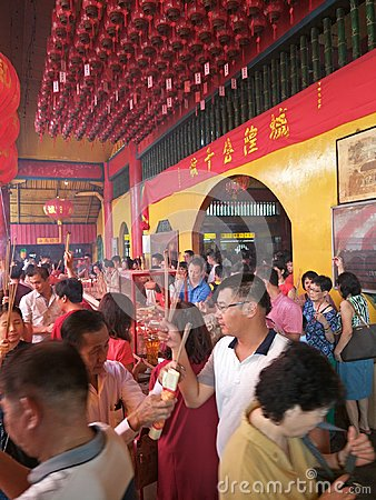 Free Praying At A Chinese Temple Stock Photo - 110252560