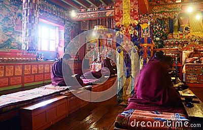 Praying buddhist Monks Editorial Photo