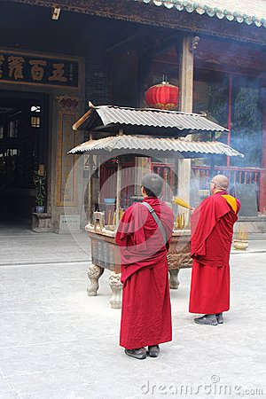 Free Praying Buddhist Monks In The Hualin Temple, China Royalty Free Stock Photography - 36090307