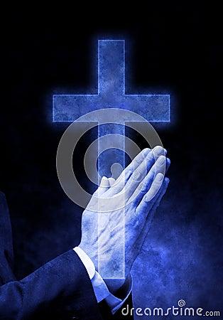 praying hands cross religion royalty free stock