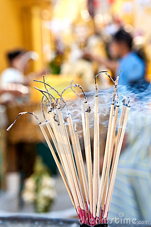 Free Praying Joss Stick Burns In The Compound Of A Budd Royalty Free Stock Photography - 13979847