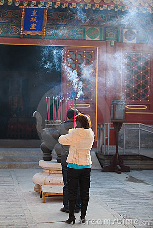 Praying during Spring Festival in Beijing, China Editorial Stock Photo