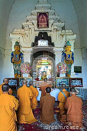 Praying at Thatbyinnyu Temple    ,  Bagan in Myanmar (Burmar) Editorial Stock Photo