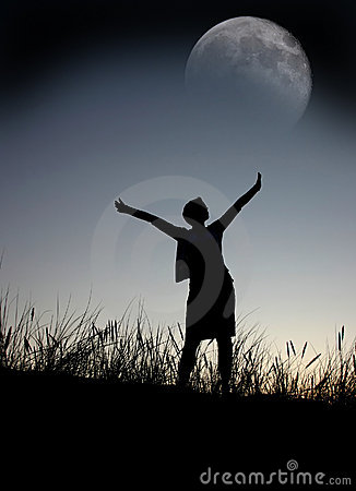 Free Praying To The Moon Stock Photography - 1492172