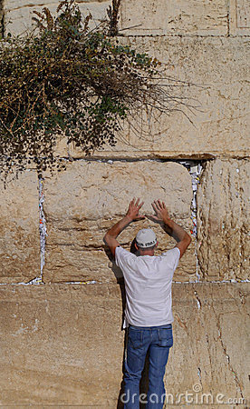 Praying at the Western Wall Editorial Stock Photo