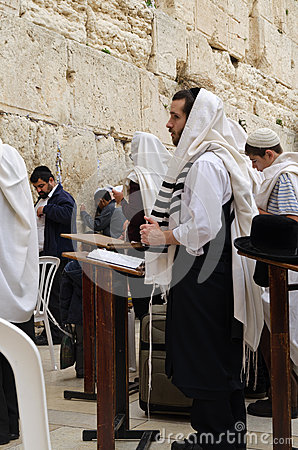 Praying in the Western wall Editorial Photo