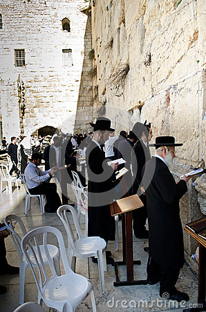 Praying in the Western wall Editorial Stock Photo