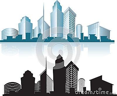 Prédios de escritórios urbanos da skyline