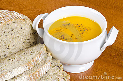 Pre-sliced Bread and Carrot Soup