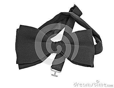 Pre-tied black silk bow tie