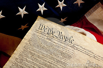 Preample of the constitution and american flag
