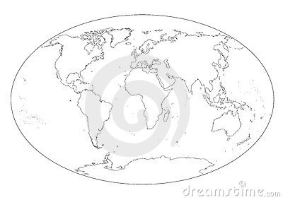 Precise World map planisphere