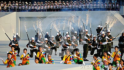 Precision drill by the military police during NDP Editorial Stock Image