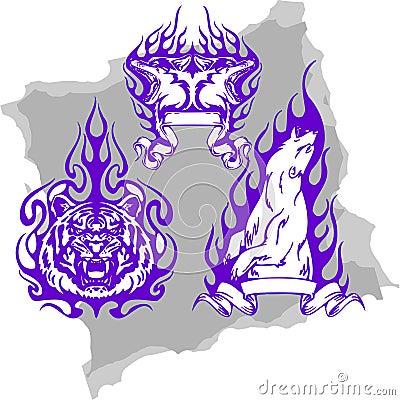 Predatory Animals and Flames - Set 1.