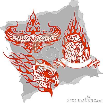 Predatory Birds and Flames - Set 3.
