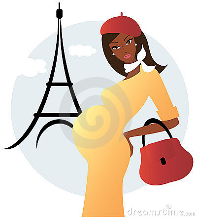 Pregnant african american woman in Paris