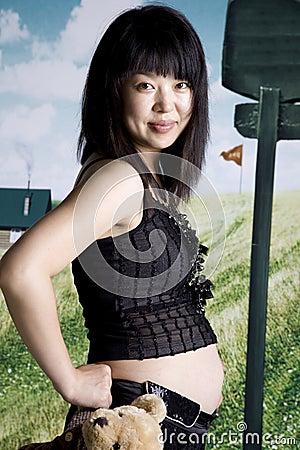 Pregnant Asia fashion woman