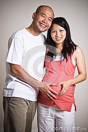 Pregnant asian couple