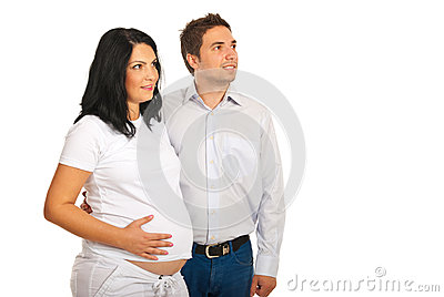 Pregnant couple looking to the future