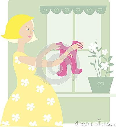 Free Pregnant Enjoys Baby Dress Stock Photos - 643353