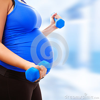 Free Pregnant Female Do Exercise Royalty Free Stock Photography - 34330897