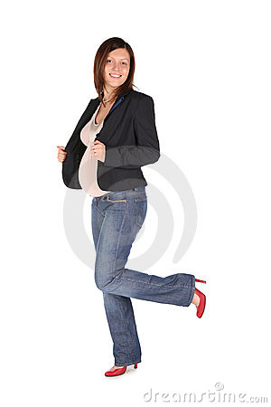 Pregnant full body woman